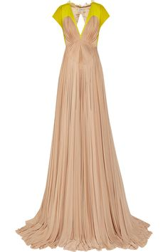 DELPOZO|Pleated jersey and chiffon gown|NET-A-PORTER.COM
