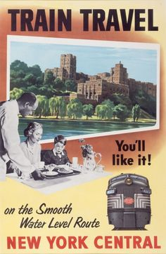 """""""Train Travel on the Smooth Water Level Route"""", New York Central Railroads, 1953 #traintravel #nycentralrailroads #advertisement"""