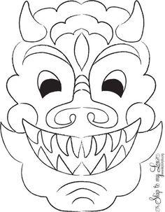 chinese new year printable dragon mask: