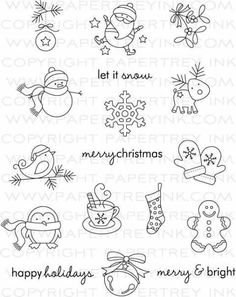 Treats: Christmas Stamp Set: Papertrey Ink Clear Stamps Dies Paper In. -Tremendous Treats: Christmas Stamp Set: Papertrey Ink Clear Stamps Dies Paper In. Christmas Doodles, Noel Christmas, Christmas Crafts, Christmas Patterns, Christmas Images, Christmas Pictures To Draw, Easy Christmas Drawings, Christmas Embroidery Patterns, Christmas Templates
