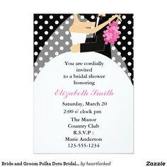 Bride and Groom Polka Dots Bridal Shower 5x7 Paper Invitation Card