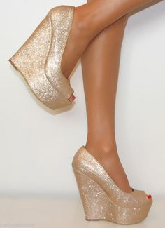 Oh my Ladies Gold Super Glittery Peep Toe Wedge Heels Shoe Sandal Evening Party 3 8 Shoes Heels Wedges, Peep Toe Wedges, Wedge Heels, High Heels, High Wedges, Crazy Shoes, Me Too Shoes, Winter Wedding Shoes, Gold Wedding Shoes