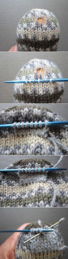 Repair a hand-knitted sock with a patch Take .-Reparatur einer handgestrickten Socke mit Aufnäher Nimm dir Zeit… gestrickt ideen Repairing a hand-knitted sock with a patch Take your time …, knitted - Knitting Socks, Knitting Stitches, Knitting Needles, Free Knitting, Baby Knitting, Knitting Patterns, Crochet Ideas, Learn How To Knit, Knit Stitches