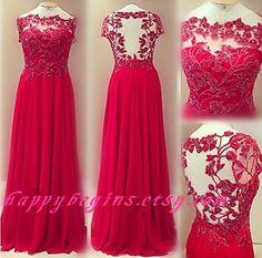 Girls red lace dress, Long open back lace prom dress/ lace bridesmaid dress/ wedding dress/ bridal dress
