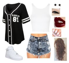 """""""♛Queen of f*cking everything.♛"""" by sassy-stiles ❤ liked on Polyvore featuring LE3NO, Topshop, With Love From CA, NIKE, Anatomy Of and Charlotte Tilbury"""