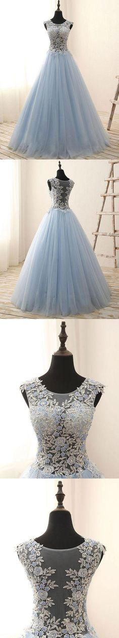 See-through prom dresses,lace appliqued with tulle skit prom dresses,long prom dresses,#fashion #prom #sheergirl