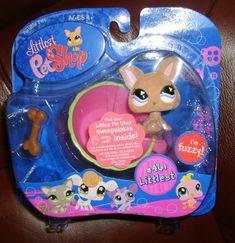 Littlest Pet Shop Fuzzy Chihuahua Dog w/Teacop & Bone #461 Littlest NIP Retired #Hasbro