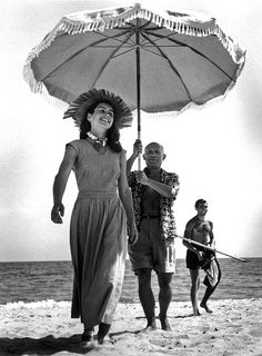 Robert Capa, Pablo Picasso and Françoise Gilot and Picasso's nephew