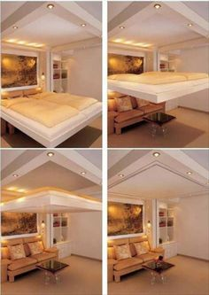 Transformer Furniture For The 1%: Amazing Cantilevered Bed Drops Down From…