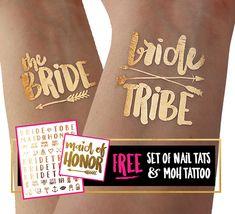 Bride Squad Tattoo set for bachelorette party / hen party / gold tattoo / temporary tattoo Gold Temporary Tattoo, Gold Tattoo, Tattoo Skin, Hen Tattoo, Mini Tattoos, Party Tattoos, Flash Tattoos, Bride Squad, Team Bride