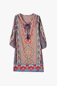Multi Print Silky Kaftan Mini Dress