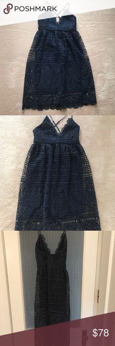 Bloomingdales Bardot Navy lace crochet dress Spaghetti strapped, navy satin lining.  Worn once. Bardot Dresses