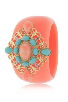 Angelique de Paris Fantasia Coral Wide Resin Cuff with Crystal Accents