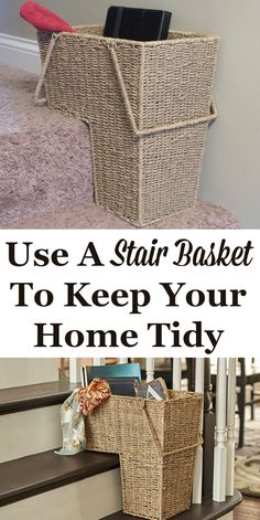 Do people in your house leave stuff on the stairs all the time, or leave things downstairs that need to go back up, or vice versa? Instead of leaving those things out, or worse, in the middle of the stairs where it can be a tripping hazard, use a stair basket to collect all that stuff. It can help keep your home tidy!