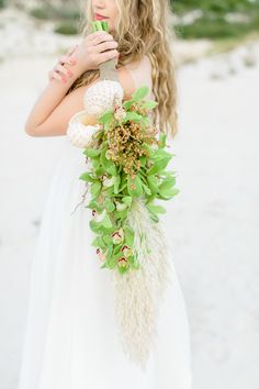 Wedding bridal portrait inspiration shoot at the sand dunes near Cape Town, South Africa with a unique flower crown and orchid bouquet. Summer Wedding Bouquets, Bride Bouquets, Floral Wedding, Wedding Flowers, Seaside Wedding, Beach Weddings, Orchid Bouquet, Bridal Shoot, Bridal Portraits