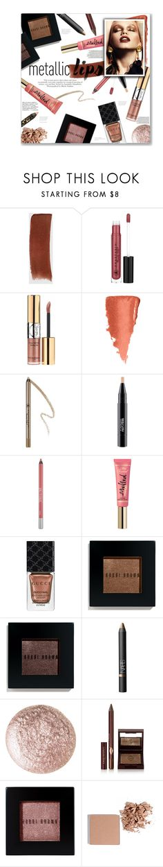 """""""Metallic Lips"""" by lauren-a-j-reid ❤ liked on Polyvore featuring beauty, Gucci, Anastasia Beverly Hills, Yves Saint Laurent, MAC Cosmetics, Urban Decay, Bobbi Brown Cosmetics, NARS Cosmetics, Essie and Too Faced Cosmetics"""