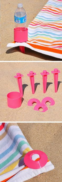 Beach Towel Stake Set with Cup Holder