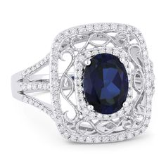 2.13ct Oval Cut Lab-Created Sapphire & Round Diamond Antique-Style Ring in 14k White Gold - AlfredAndVincent.com