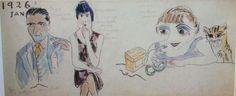"""1926 Youki avec Guy et Jacqueline Selz Pages extraites du journal tenu par Foujita pour Youki, dit """"le journal de Youki"""", comportant 66 pages 38 x16 cm  Dessin à l'encre et aquarelle sur papier traditionnel japonais Collection particulière"""