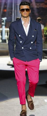 DSquared took inspiration for this garment from the 1960s. Brightly colored pants and loafers, and a double breasted suit jacket.