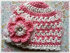 Victorian Rose-Rose and Ivory Crochet Chevron door mygirlshats