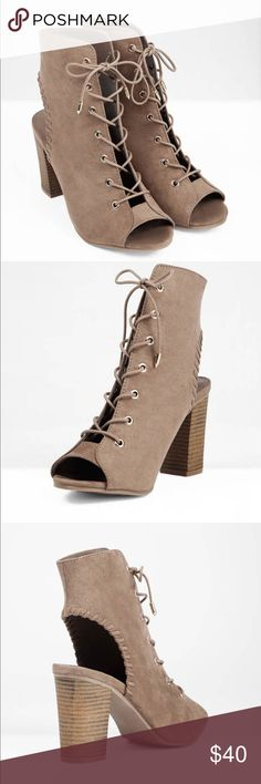 "Trendy lace up taupe heels Super fun and flirty heels perfect for fall! Worn once and ready for a new home! Size 7.5 all sold out online!   Heel: 3""/7.6cm Platform: 0.25""/0.64cm Lace up closure Cut out heel Tobi Shoes Heels"