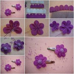 DIY flower hair clip in fabric or felt
