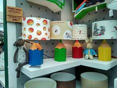 Coloured crayon lamp base with Roald Dahl lampshade