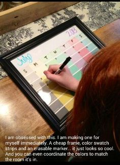 A cheap frame, color swatch strips, & an erasable marker - voila!