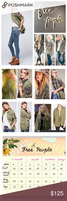 """Free People Embellished Military Jacket.  NWT. Free People Olive Embellished Military Jacket, 100% cotton, machine washable, 21.5"""" armpit to armpit (43"""" all around), 18.5"""" arm inseam, 28.5"""" length, military inspired soft utility shirt jacket featuring chevron patches with luxe bead accents, allover raw trim, exposed front button closure with storm flap, hip pockets, and bust pocket detailing, back yoke with box pleat, shirttail hem, long sleeves, point collar, measurements are approx.  NO…"""