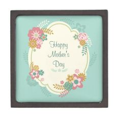 Happy Mother's Day Day Floral Frame Premium Trinket Box