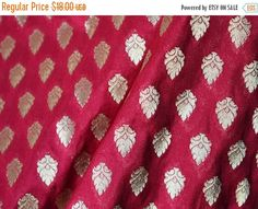 15% OFF Maroon and Gold Pure Silk Brocade Fabric Remnant - Gold Banaras Silk Fabric Remnant - Dress Material for Weddings by yard