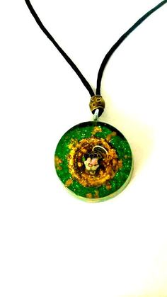 Organite-Magical Pendant Shungit green-gold-gold by ORGONITHEKA