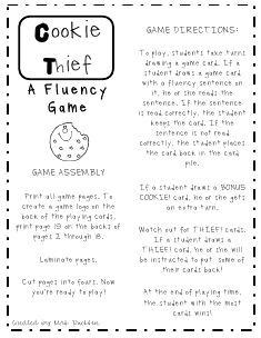 """Cookie Thief Fluency Game"" - What I liked most about this game is that students have to read unfamiliar sentences. I think this is a great skill building game and creates a novel situation to practice fluency. Reading Fluency Games, Reading Strategies, Reading Activities, Reading Skills, Teaching Reading, Reading Comprehension, Guided Reading, Teaching Ideas, Fluency Practice"