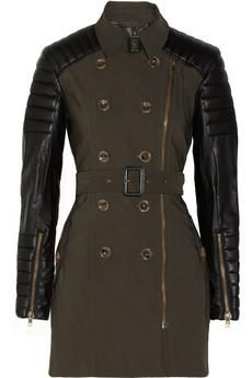 Keanu faux leather-sleeved cotton-twill trench coat