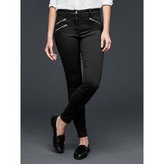 Gap Women Modern Stretch Zip Skinny Legging Pants ($70) ❤ liked on Polyvore featuring pants, leggings, tall, true black, long leggings, black skinny leggings, black stretch pants, long black leggings ve stretchy leggings