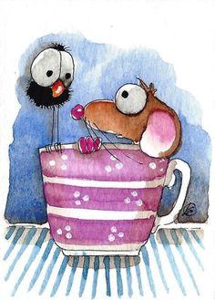 ACEO Original watercolor art painting whimsical mouse bird crow tea cup purple #IllustrationArt