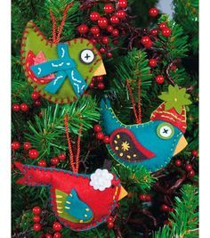 "Whimsical Birds Ornaments Felt Applique Kit-2.75""X4.75"" Set Of 3 & Felt Applique at Joann.com"