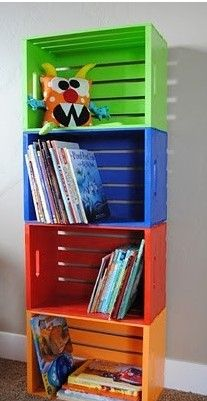 DIY Bookshelf Made From Crates You Can Get At The Home Depot