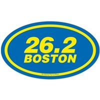 Boston Marathon Oval Car Magnet - Be proud and display this great accomplishment with our magnet. This 26.2 Boston magnet is perfect for cars or any solid surface.