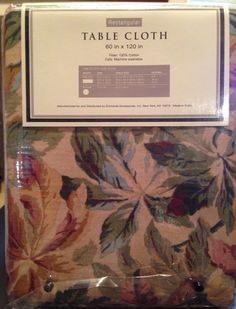 Raymond Waites Tablecloth Cotton Autumn Foliage Leaves Rectangular 60x120  New #RaymondWaites