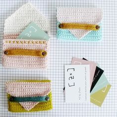"""""""#Crochet business card cases. The colors leave me cold, but the design is charming."""" #KnittingGuru comment."""
