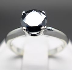 #jewelry .93cts 6.49mm Natural Jet Black Diamond Ring, Diamond is Certified please retweet