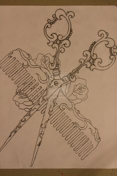 images of victorian barber scissors | Shears and Comb Tattoo Design by ZombifiedBeauty