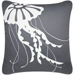 Misty Grey Jellyfish Coastal Throw Pillow