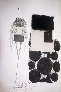 Fashion Sketchbook - fashion design sketch, swatches & fabric manipulation samples - creative process; fashion portfolio // Robert Rodriguez