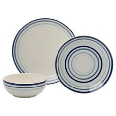Tesco Painterly Stripe 12 Piece Dinner Set, Blue