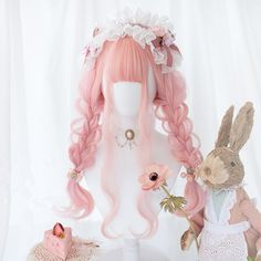 Women Pink Wigs Lace Front Hair Strawberry Pink Hair Black With Pink Highlights Shades Of Pink Hair Cosplay Hair, Cosplay Wigs, Kawaii Hairstyles, Wig Hairstyles, Lace Front Wigs, Lace Wigs, Rosa Highlights, Kawaii Wigs, Wig Styling