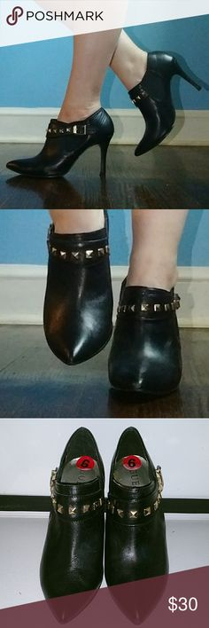 Guess Leather Ankle Boots Soft Leather Boots, Worn Once. Color Black, Pointy Toe, With Belt Buckle and Studded. Very Clean. Guess Shoes Ankle Boots & Booties