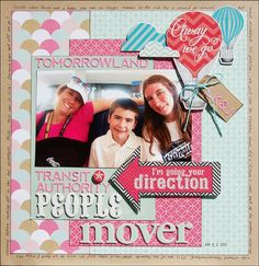 Away We Go (or TTA PeopleMover) | Scraptastic Club by DT @Madeline Fox Disney scrapbook layout